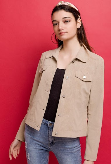 Fake leather basic jacket