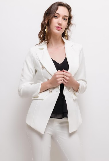 Blazer with padded shoulders. The model measures 177cm, one size corresponds to 10(UK) 38(FR). Length:60cm