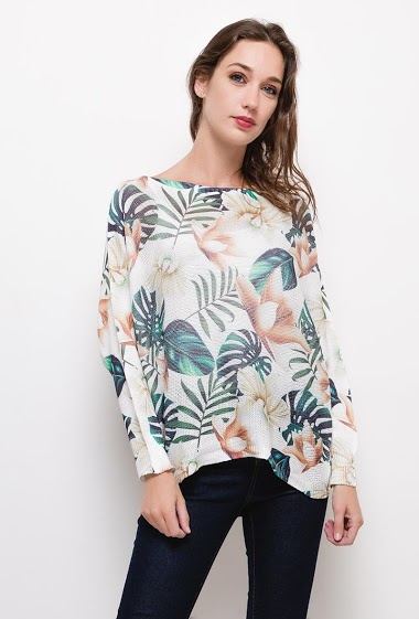 ESTEE BROWN geprinte gebreide blouse CIFA FASHION