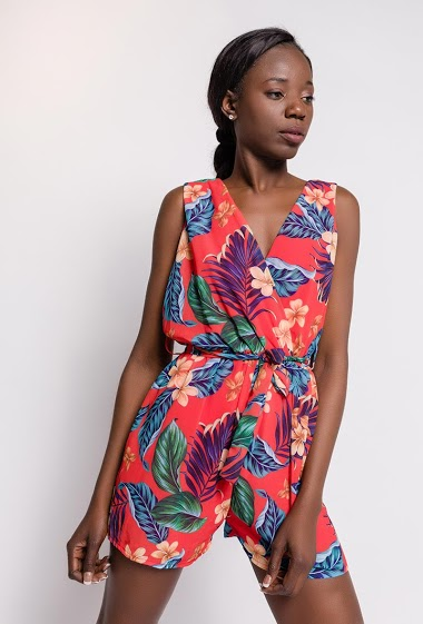 Sleeveless wrap playsuit, tropical print. The model measures 179cm, one size corresponds to 10/12(UK) 38/40(FR). Length:80cm