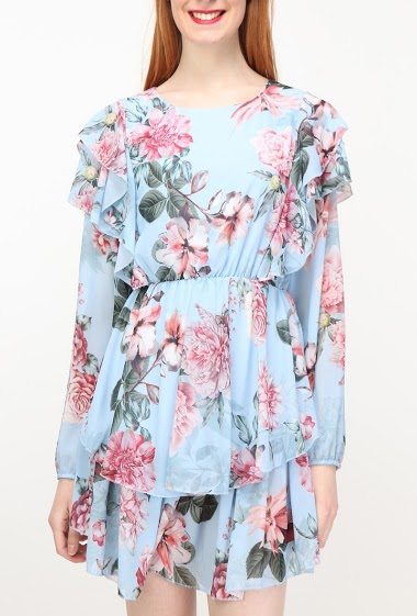 Wrap dress, printed flowers, long sleeves. The model measures 175cm, one size corresponds to 10/12(UK) 38/40(FR). Length:88cm