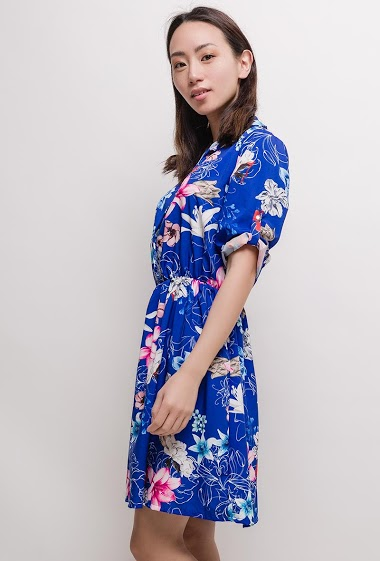 Shirt dress, printed flowers, roll-up sleeves. The model measures 170cm, one size corresponds to 8/10/12(UK) 36/38/40(FR). Length:90cm