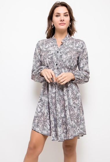 Printed dress, loose fit. The model measures 175cm, one size corresponds to 10/12(UK) 38/40(FR). Length:95cm