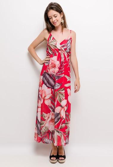 Sleeveless dress, printed flowers. The model measures 176cm, one size corresponds to 10/12(UK) 38/40(FR). Length:138cm