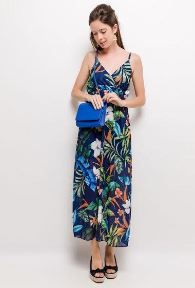 Robe sans manches, fleurs imprimées. La mannequin mesure 176cm, TU correspond à 38/40. Longueur:138cm