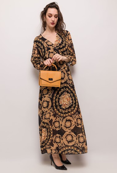 Wrap printed dress. The model measures 177cm, one size corresponds to 10/12(UK) 38/40(FR). Length:141cm