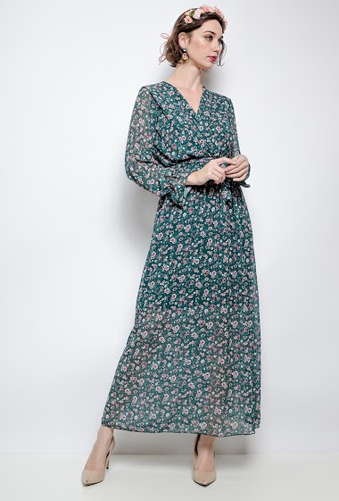 Robe cache-cœur imprimée. La mannequin mesure 177cm, TU correspond à 38/40. Longueur:141cm