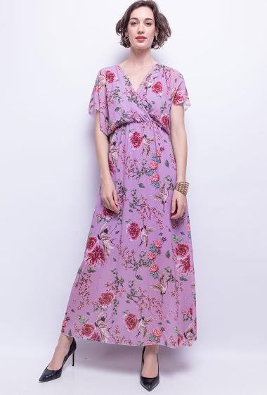 Dress with printed. The model measures 178 cm