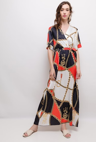 Wrap dress, printed chains. The model measures 177cm, one size corresponds to 10/12(UK) 38/40(FR). Length:140cm