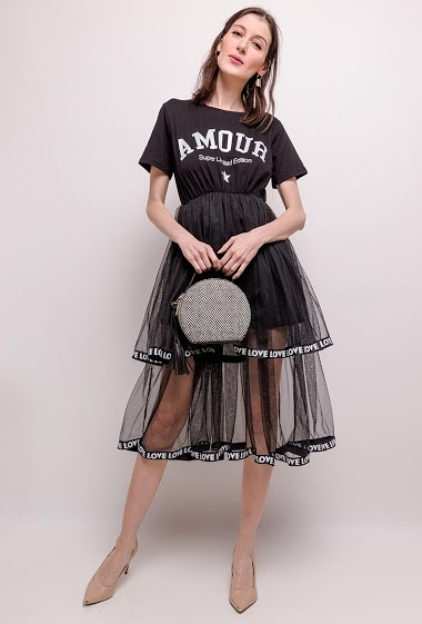 Dress with print AMOUR, tulle skirt