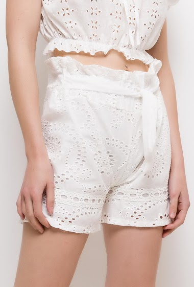 Embroidered and perforated shorts