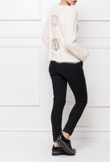 Jumper in fluffy knit decorated with sequins, back with lace