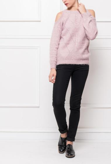 Jumper in soft knit decorated with lurex with cold shoulders, buttons on the back