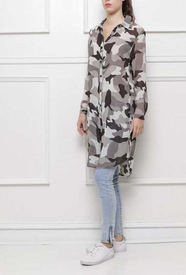 Long shirt with military pattern, regular fit, fluid fabric