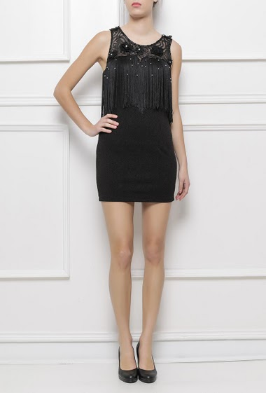 Sleeveless dress with fringes, lace yoke, zip side closure, textured fabric, close fit