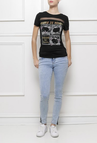 Short sleeves t-shirt with monkey in strass, transparent yoke, very soft jersey