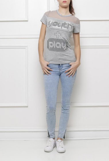 Short sleeves t-shirt with transparent yoke, print decorated with strass, soft jersey