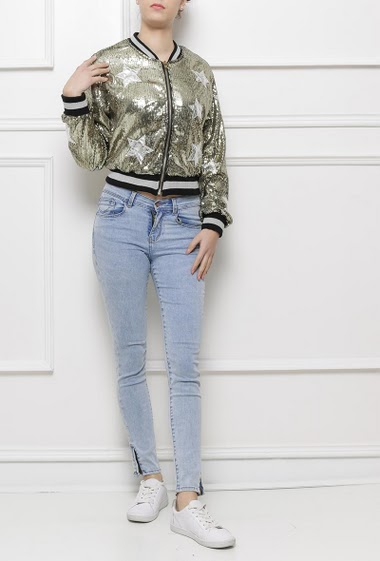 Bomber jacket in sequins with stars pattern, zip closure, baseball collar