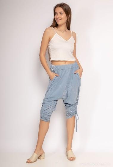 Bermuda shorts plain sarouel in 100% cotton - For Her Paris