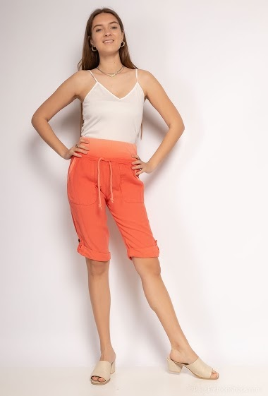 Bermuda shorts plain in cotton and linen - For Her Paris
