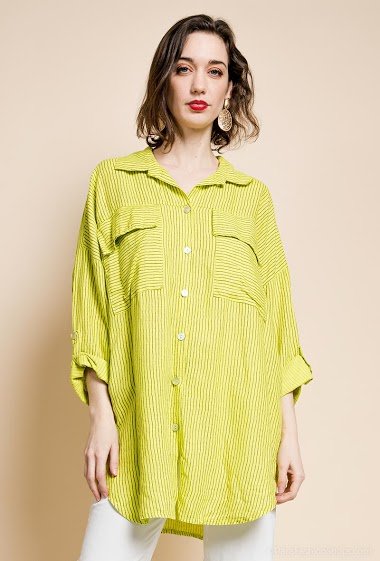 Striped shirt in linen and cotton - For Her Paris