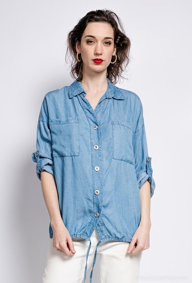 Pleated denim shirt - For Her Paris