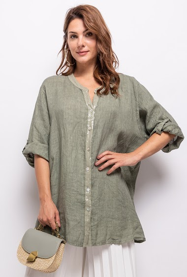Big size blouse in 100% linen - For Her Paris