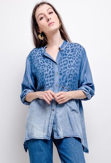 chemise oversize en jeans imprimé léopard - For Her Paris