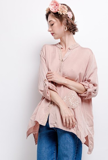 chemise oversize unie avec des sequins et une poche - For Her Paris