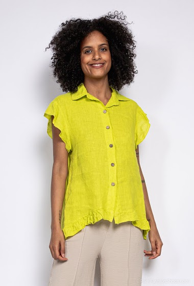Plain shirt in 100% linen - For Her Paris