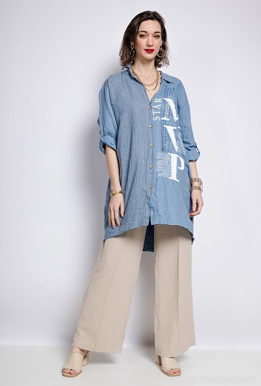 Plain and striped shirt - For Her Paris