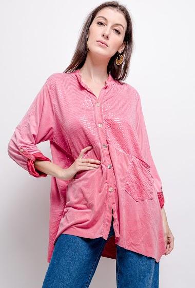 chemise unie oversize en sequins - For Her Paris