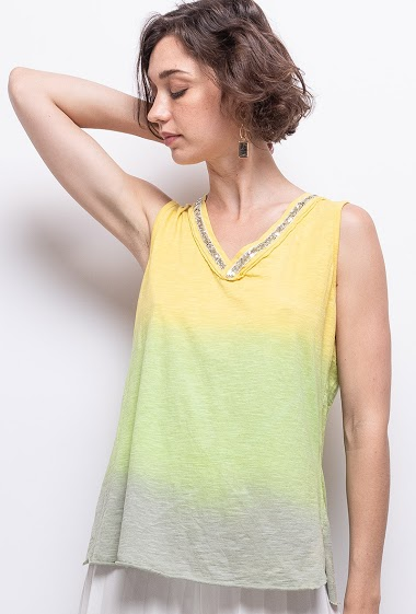 Tie and dye top in 100% cotton - For Her Paris