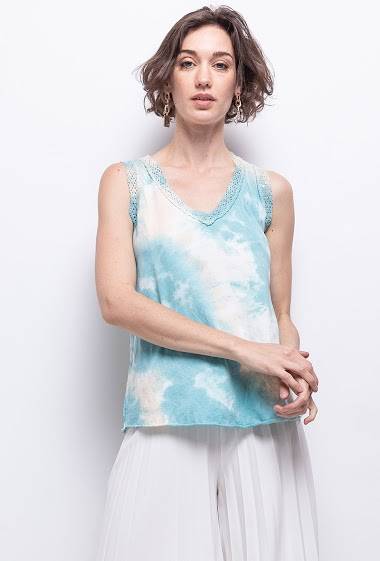 Tie and dye top in cotton V collar - For Her Paris