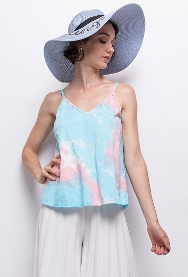 Tie and dye top in cotton with thin braces - For Her Paris
