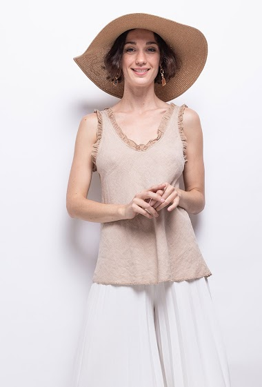 plain top in linen and cotton - For Her Paris