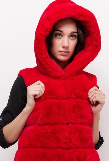Fur vest hood FLORETTE - For Her Paris