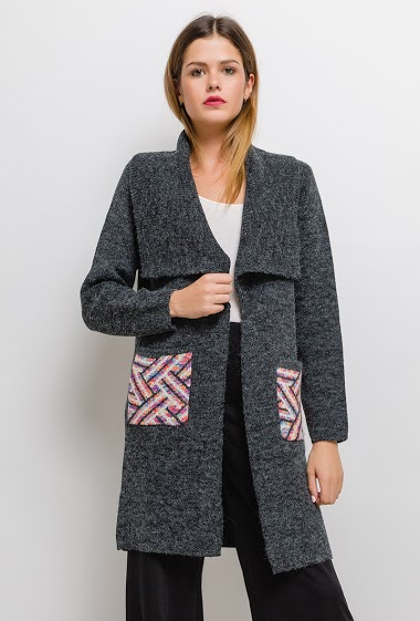 Gilet long en maille imprimée - For Her Paris