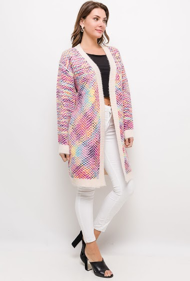 Long vest in multicolored knit - For Her Paris