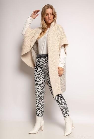 Long plain knit vest - For Her Paris