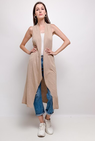 long waistcoat plain knit without sleeves - For Her Paris