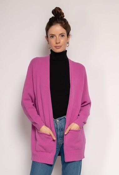 Oversized V-neck knit cardigan - For Her Paris