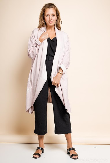 long oversized vest in cotton - For Her Paris