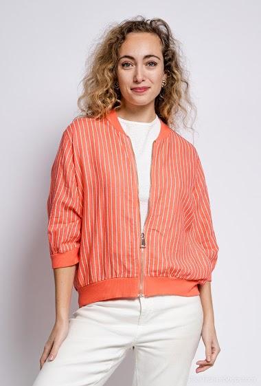 Gilet zipé à rayures en lin et en coton - For Her Paris