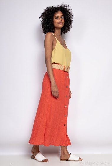Long skirt in linen and cotton - For Her Paris