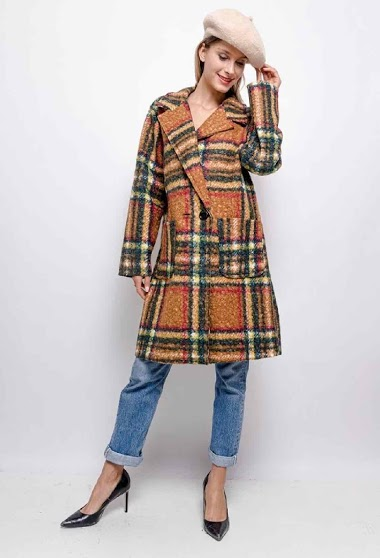 oversized checked coat - For Her Paris