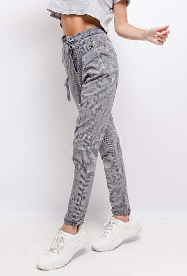pantalon avec imprimé carreaux - For Her Paris