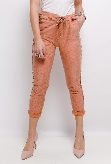 plain cotton ruffled trousers with side stripes - For Her Paris