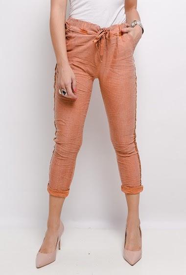 pantalon froissé uni avec des bandes latérales - For Her Paris
