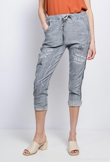 Wrinkled trousers with writing - For Her Paris
